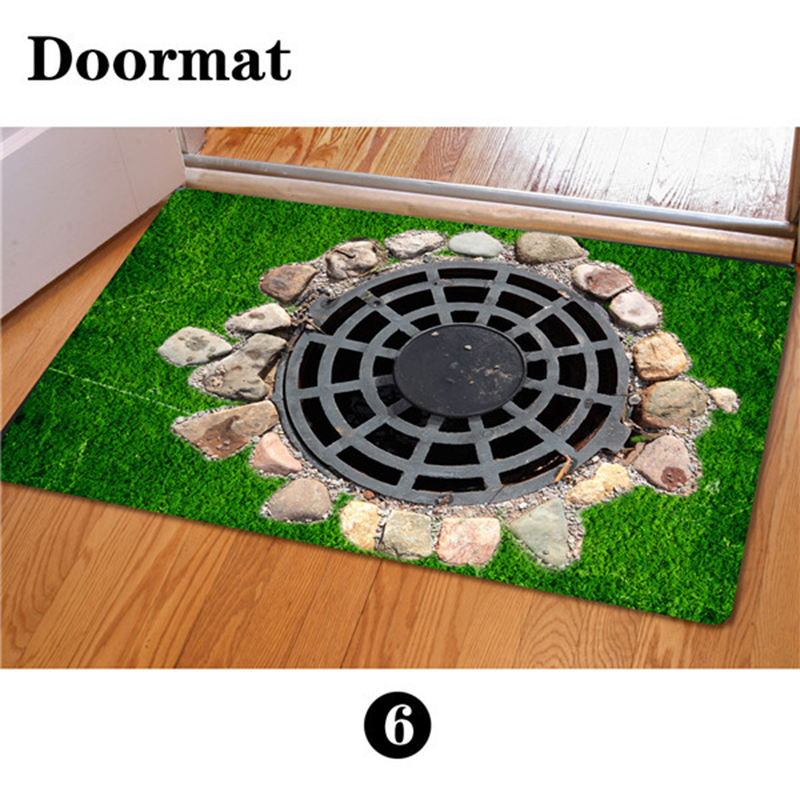 Eco Friendly 3D Printed Doormats Bathroom 40*60cm Floor Mat Rubber Tapis  Cuisine Dustproof