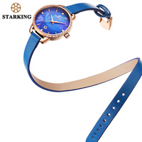 Старкинг 2017, Новая мода браслет кожа часы кварцевые Для женщин женские Элегантные наручные часы роскошные золотые синий часы Для женщин Авт...