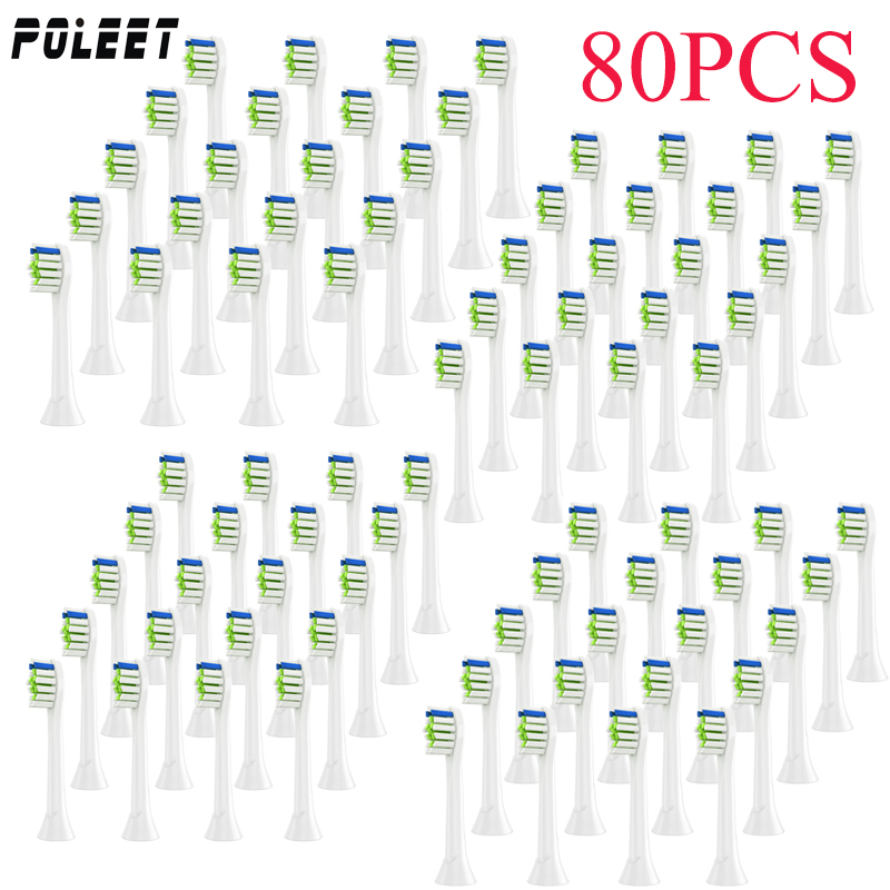 Poleet 80PCS Electric Toothbrush Replacement Heads YH729 Fits For Philips HX3 HX6 HX9 Series Toothbrush Head