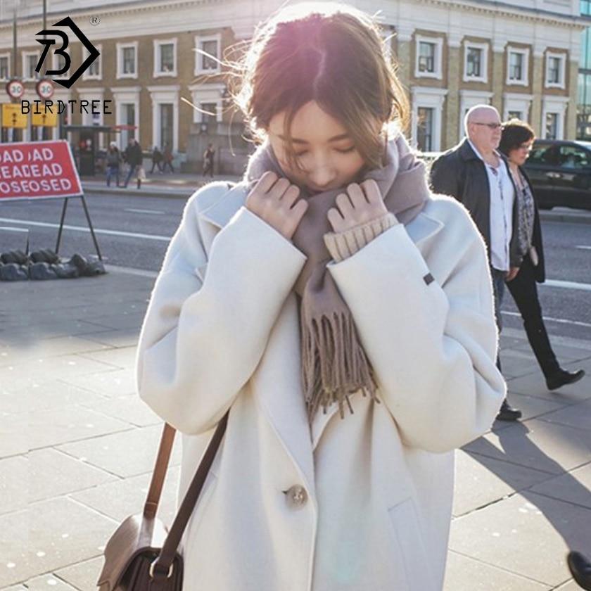 2018 herbst Frauen Kosten Weiß Drehen-unten Kragen Volle Hülse Einreiher Plaid Woolen Mantel Frauen Kleidung Hots Verkauf c87423LD