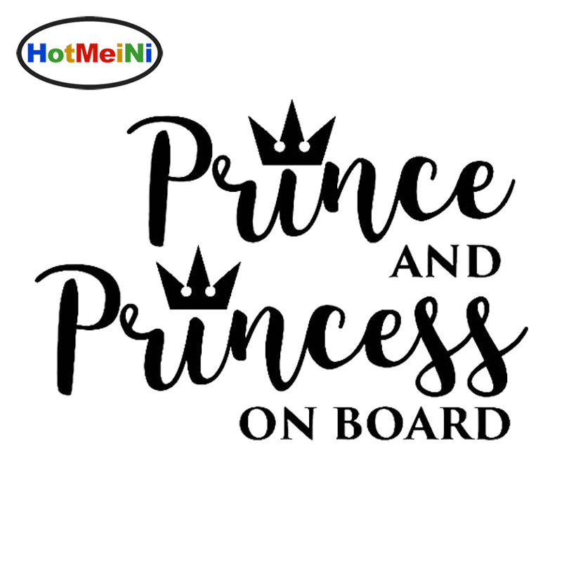 HotMeiNi Car Accessories PRINCE AND PRINCESS ON BOARD Vinyl Fun Sticker Car Decal Black/Sliver 15CM*10.3CM image