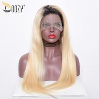 Doozy Европейский человеческих волос парик Ombre 1b/613 русский блондинка Реми прямые волосы длиной полные