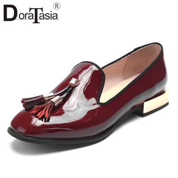 DORATASIA Hot Sale Patent Leather Fringe Summer Shoes Woman Pumps Female Chunky Heels Casual Slip On Black Pumps Woman Shoes