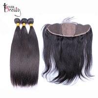 Прямые Натуральные волосы пучки с закрытием бразильские волосы плетение 3 пучки с шелковой основой 13*4 Кружева Фронтальная когда либо Красо