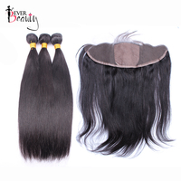 Straight Human Hair Bundles With Closure Brazilian Hair Weave 3 Bundles With Silk Base 13*4 Lace Frontal Ever Beauty Remy Hair