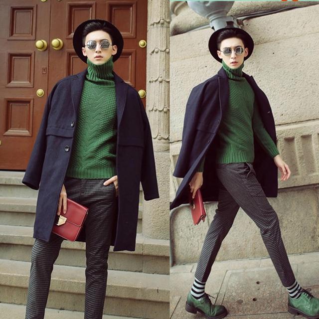 Mens inverno casaco de lã de Moda 2017 dos homens roupa masculina de médio-longo de algodão mais de lã casaco de Lã & Blends