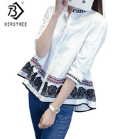 Spring Autumn Chinese Style Lace Blouses Three Quarter Cotton Embroidery Ruffles Beads White Shirt Size M