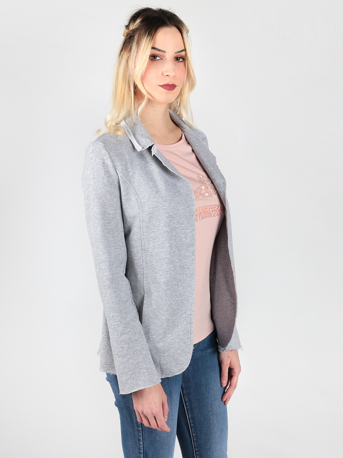Woman Raw Edge Pocket Casual Suit Cardigan