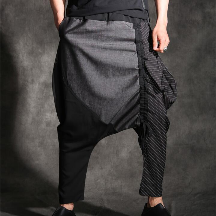 2020 Men's Original Designer Multi- Fabric Stitching Drawstring Feet Harem Pants Pants Men's Cropped Trousers