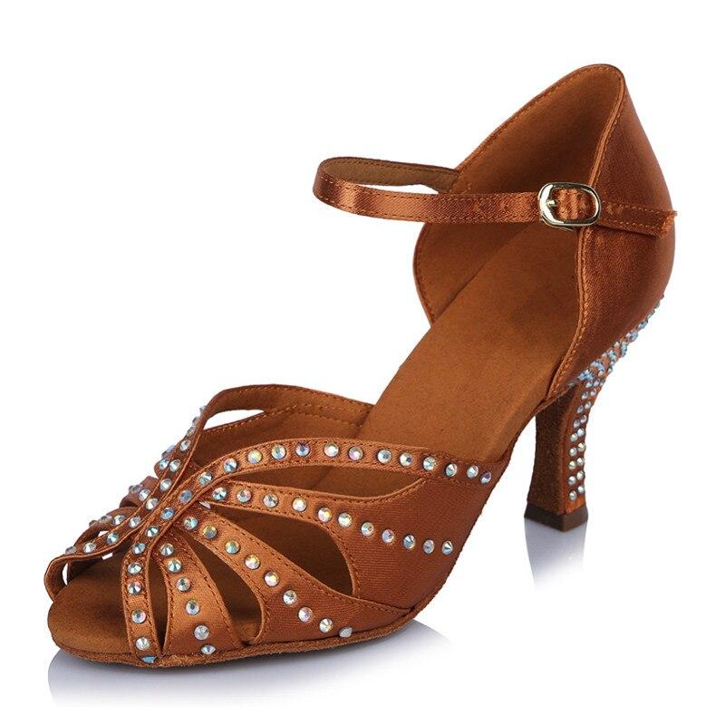 Femmes chaussures de danse latine violet bronze Tango salle de bal chaussure de danse talon 75mm haute qualité Samba Tango fête chaussures de danse
