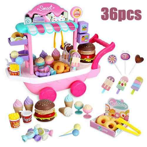 36pcs Mini Ice Cream Candy Trolley House Play Educational Toy Super Funny Mini Icecream Car Toys Kitchen Toys For Children