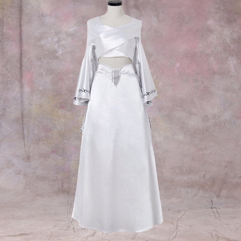 Cosplaydiy Cosplay Costume Dress Ball Gown Dance Party Dress Trumpet Sleeves Halloween Costume White Medieval Dress ruffles 2029 gaess medieval dress costume cartoon character costumes dress medieval dress