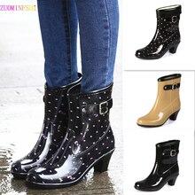 цена на Spring/Autumn High-heeled Ankle Shoes Women Fashion Rain Boots Women Waterproof High Rainboots Slip Glass with Water Boots
