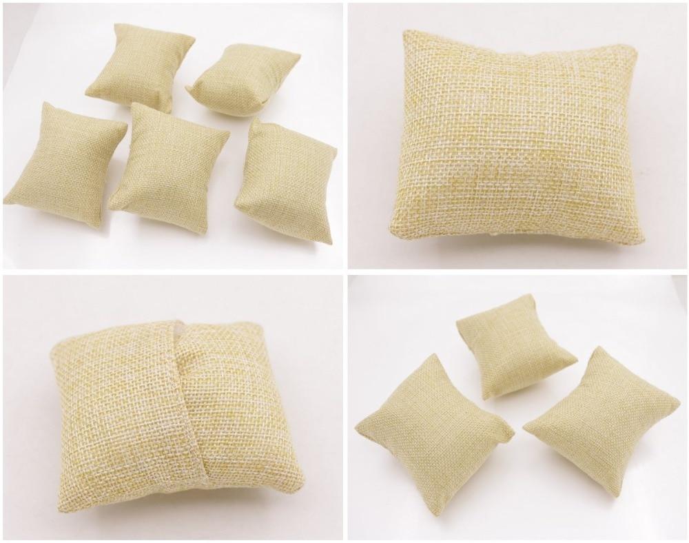 7cmX9cm New Beige Linen flax small Pillow Watch Bracelet Jewelry Display 5PCS 3PCS 1PCS  Choose