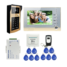 FREE SHIPPING 7 inch Screen Recorder Video Intercom Door Phone System + Metal Outdoor RFID Code Keypad Doorbell Camera + 8G SD