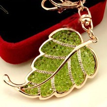 Free Shipping! New Design 2015 Unique Colorful Rhinestones Leaf Car key chains Keyrings Car Jewelry Accessory