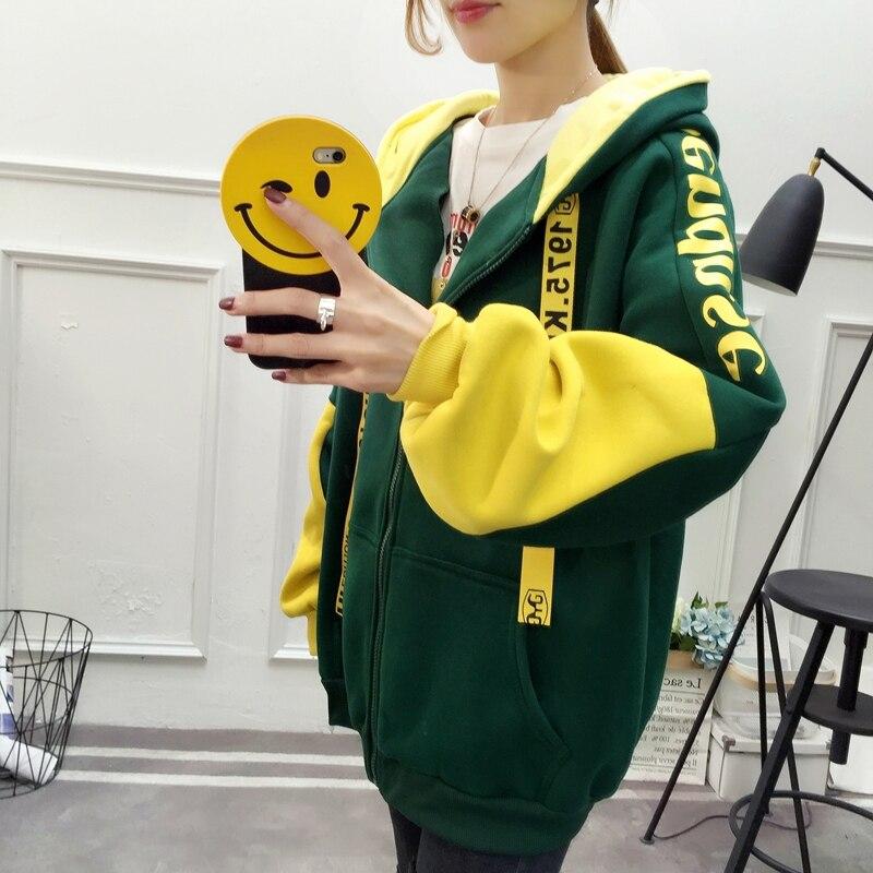 Patchwork Hoodie Pullover Woman Long Sleeve Hooded Sweatshirt 2019 Kpop Autumn Harajuku Tracksuit Sudaderas Mujer streetwear 35