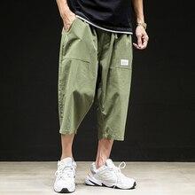 Wide Leg Pants Plus Size 5XL Casual Straight Harem pants Hip Hop Mens Elastic Waist Pant Male Loose Thin Calf-length Trousers цена