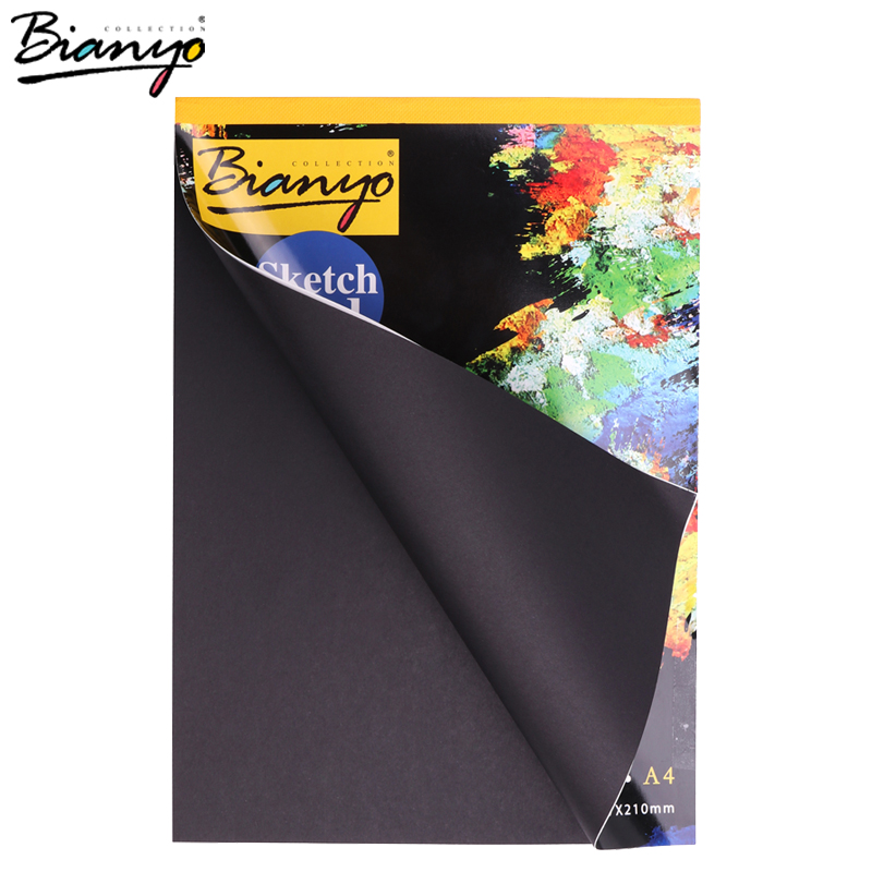 Bianyo A4 A5 Vintage Black Cardboard Sketch Book Notebook Notepad SketchBook for Painting Drawing Diary Journal Creative Gift