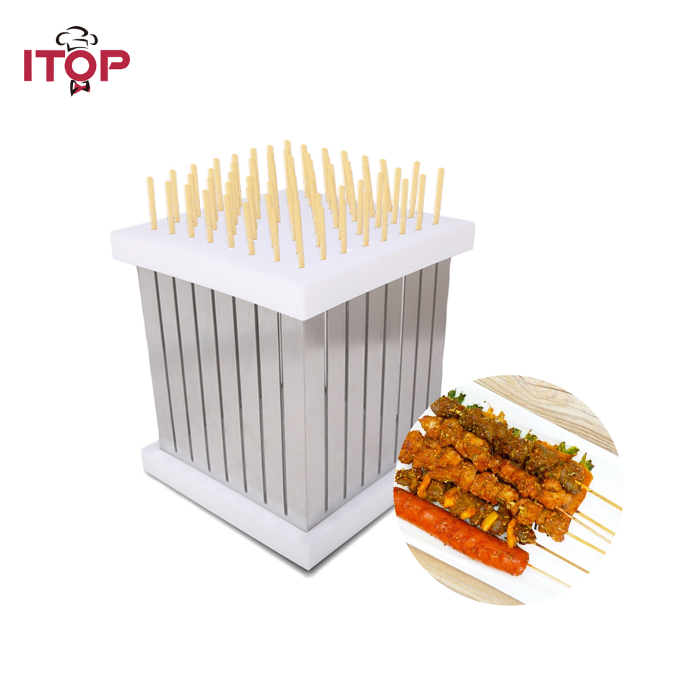 ITOP 64 Shewers Kebab Shewers Maker Box Stainless Steel + ABS Plastic Rapid Wear Skewers For BBQ Outdoor 1pc hot sale 100%quality guaranteed doner kebab slicer two blades electrical kebab knife kebab shawarma gyros cutter