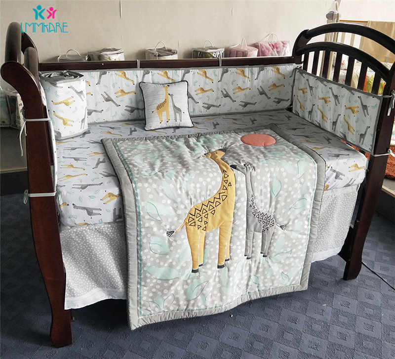 Cotton Baby Bedding Set Cartoon Cute Giraffe Stereo Embroidery Baby Baby Bed Sheet Quilt Pillow Breathable Soft Baby Bed Bumpers