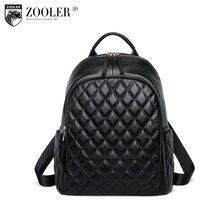 Купить с кэшбэком 2018 new Genuine leather bag backpacks quality Woman Backpack double strap bags large capacity travel bags bolsos mujer#B198
