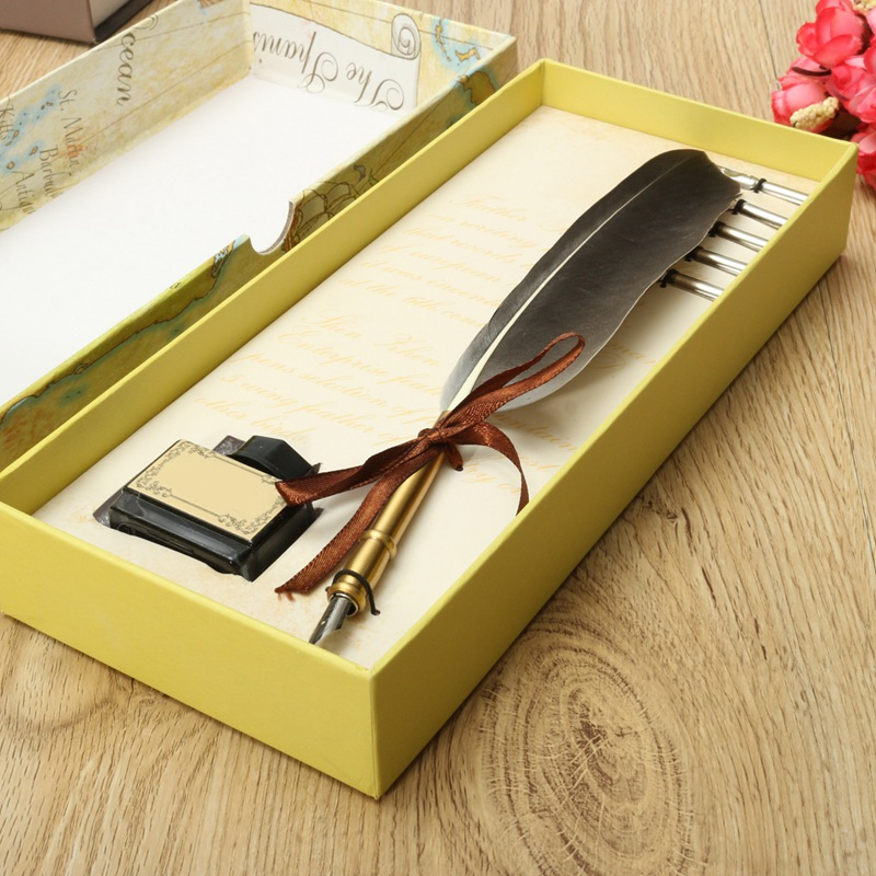 все цены на Excellent Antique Quill Feather Dip Pen Writing Ink Set Stationery Gift Box with 5 Nib Wedding Gift Quill Pen Fountain Pen онлайн