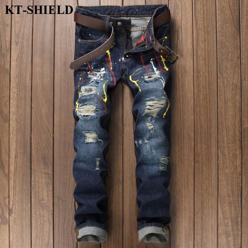 Men Motorcycle Jeans Famous Brand Casual Long Trousers Designer Men Denim Pants Vaqueros Hombre Ripped Distressed Jeans Men