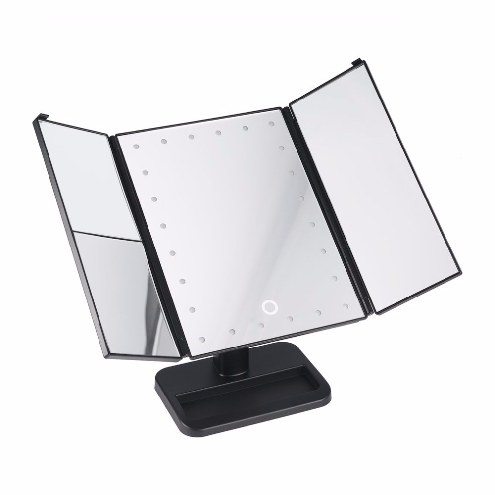 3-folding HD Touch Screen Makeup Mirror with 24 LEDs 1X/2X/3X Desktop Magnifying Light Mirrors for Cosmetic Christmas new large 8 inch fashion high definition desktop makeup mirror 2 face metal bathroom mirror 3x magnifying round pin 360 rotating