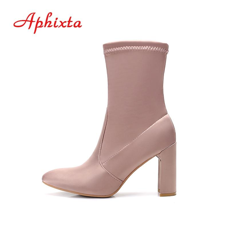 цены на Aphixta Autumn Winter Elasticity Women Boots Luxury Satin Mid-Calf Socks Square Heel Slip-on Fashion Ladies Boots Size US 6-11 в интернет-магазинах