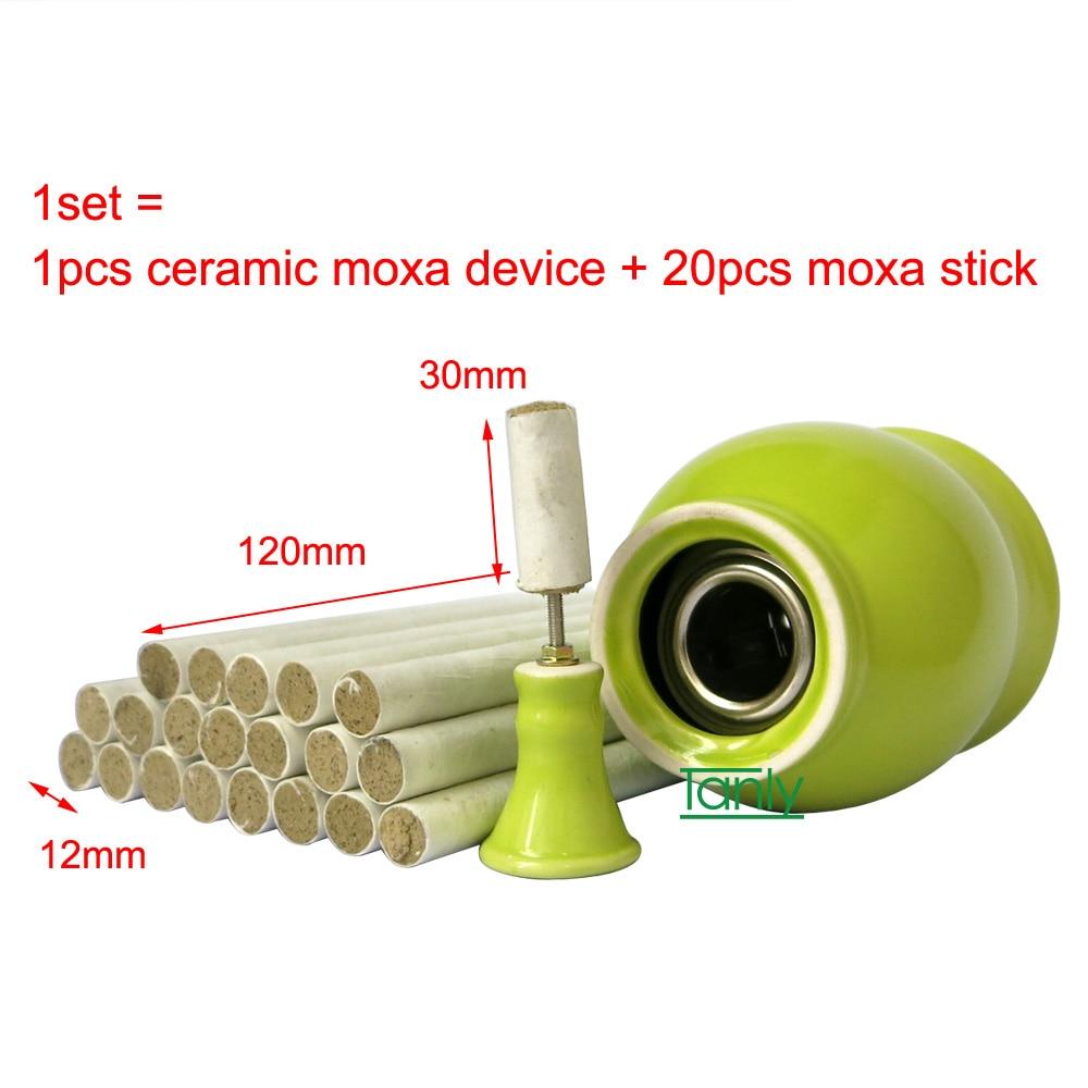 value set new type ceramics moxibustion device body massager + 20 pcs moxa stick 2pcs set new type 100