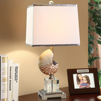 Fashion Mediterranean High 62cm Conch Table Lamp Luxury Crystal Table Lamp For Bedroom Lobby Table Lamp Abajur De Mesa Lamparas