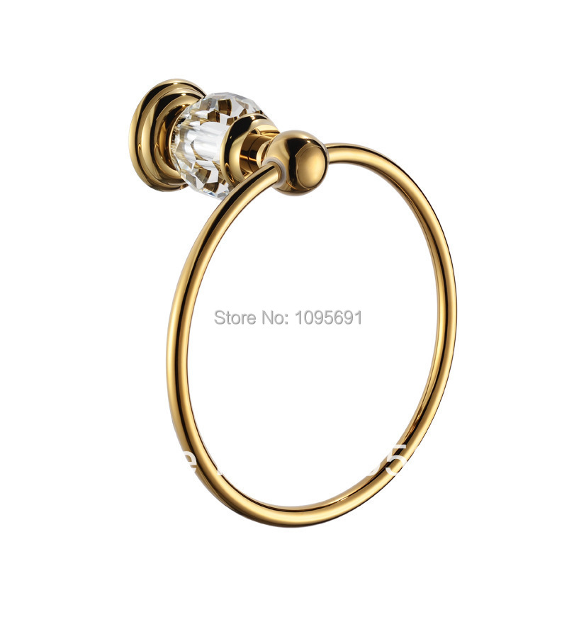ФОТО Free Shipping Solid Brass Copper gold Finished Bathroom Accessories Products  Towel Ring,Towel Holder,Towel Bar