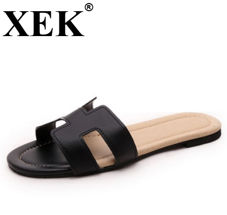 XEK 2018 new arrival brand quality leisure women Casual slippers summer shoes beach flip flops women footwear size 35-40 WFQ42 women casual shoes 2018 new arrival women s fashion air mesh summer shoes female slip on plus size 35 40 shoes footwear 707w