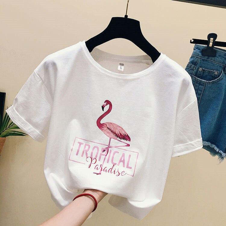 2019 Fashion Cool Flamingo Print Female   T  -  shirt   White Cotton Women Tshirts Summer Casual Harajuku   T     Shirt   plus size women Tops