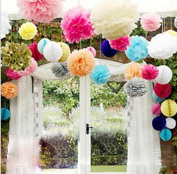 "Diy Multi Colour 10"" Paper Flowers Ball Wedding Home Birthday Party Car Decoration Tissue Paper Pom Poms 200pcs/lot"