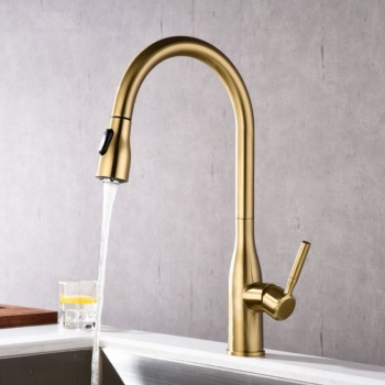 Brushed Gold Kitchen Faucets Black Hot and Cold Mixer Tap for Kitchen Single Handle Pull Out Faucet Deck Mounted ORB Crane