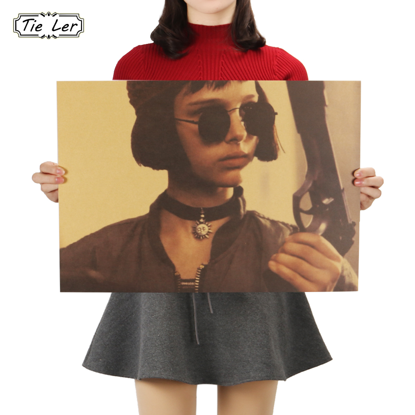 TIE LER The Killer Is Not Too Cold Wall Sticker Classic Movies Vintage Kraft Paper Leon Poster Decorative Painting 51.5X36cm