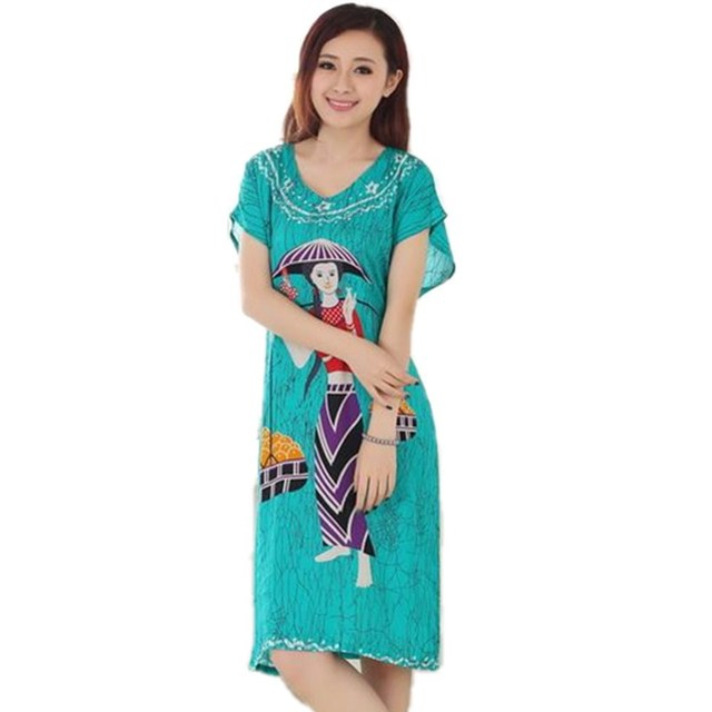 4cec29fe4f National Summer Short Sleeve Lady's Cotton Nightgown Chinese Style Robe  Bath Gown Flower Sleepwear One Size