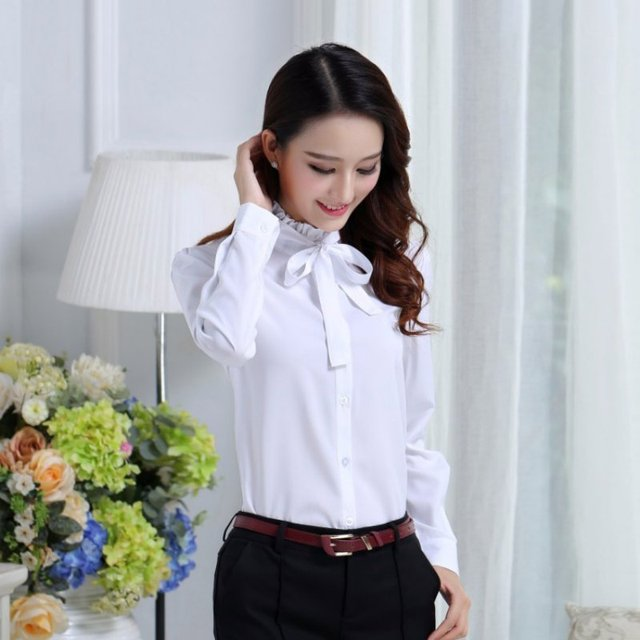 #Korean Style #Women Tie White #Blouse #Ladies Office Work Wear #Shirts #Fashion Long Sleeve #Tops #GRL #BOYGRL 1