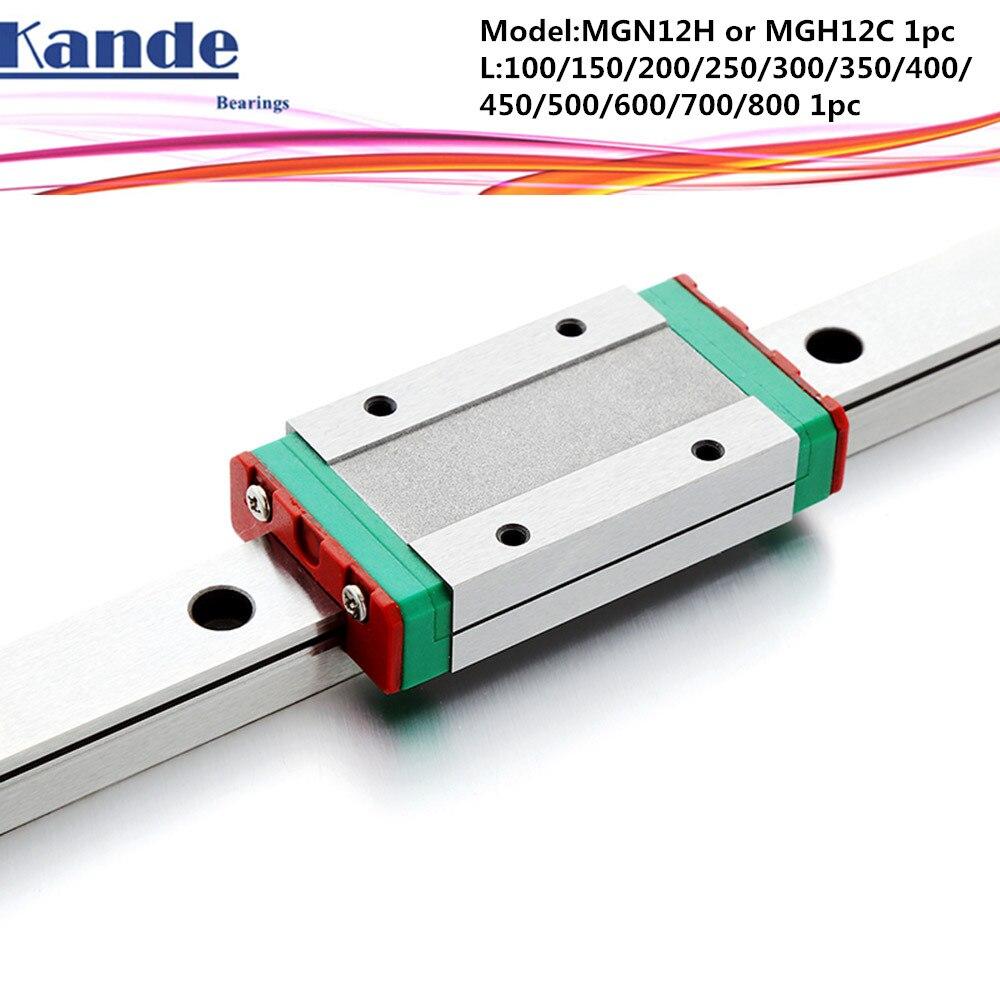 MGN12 CNC 12mm MGN12C L100-600 milímetros em miniatura trilho de guia linear transporte bloco linear ou MGN12H MGN12H estreito transporte