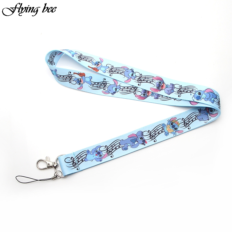 Flyingbee Stitch Keychain Cartoon Cute Phone Lanyard Women Fashion Strap Neck Lanyards for ID Card Keys X0101