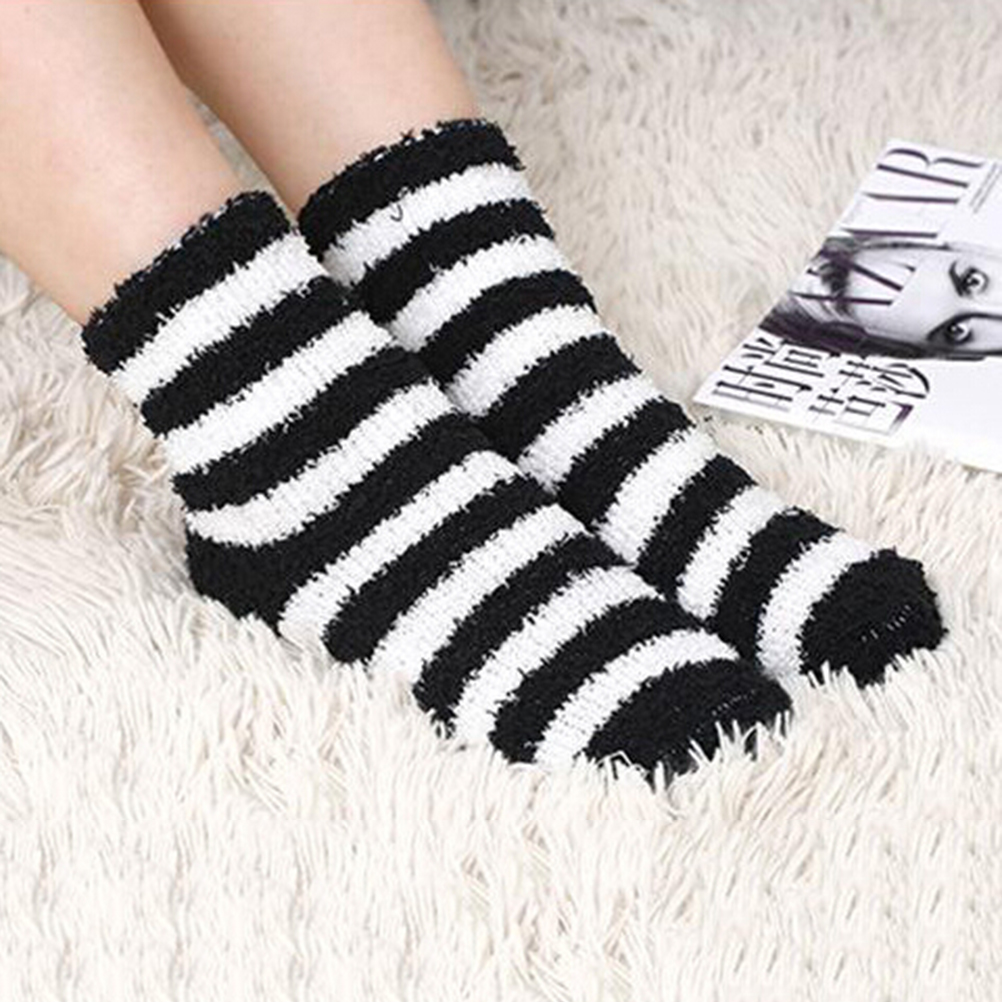 1 pair Lady Winter Gift Soft Floor Home Women Bed Socks Stripe Fluffy Warm Winter Thick Candy Color Casual Socks