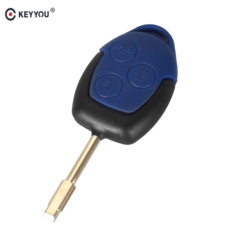 KEYYOU Brand New 3 Button Transit Connect Set Remote Key Shell For Ford Blue Case Replacement replacement 3 button smart key housing case for ford dark red