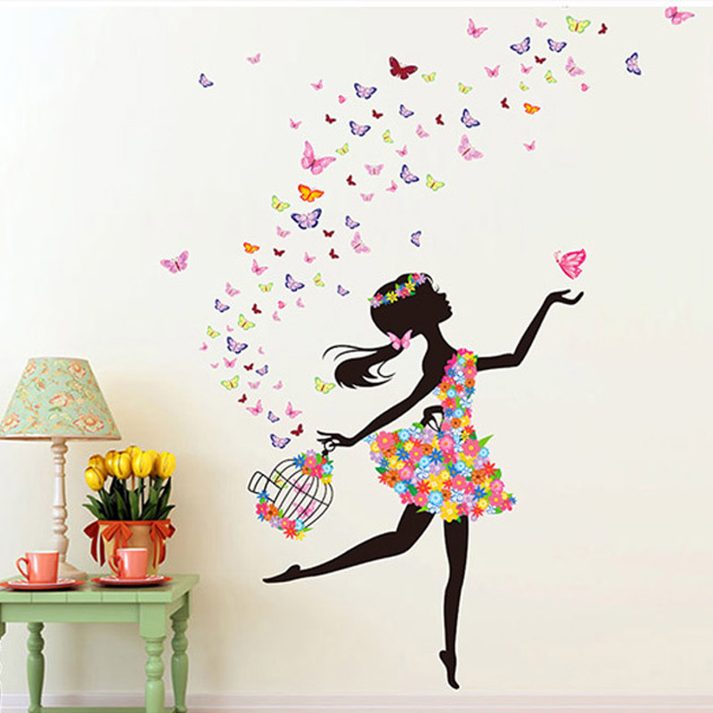 product Fashion Modern DIY Decorative Mural PVC Girl Butterfly Bedroom Room Wall Sticker For Home Decor Removable Decal Wwallpaper