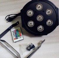 2pcs Wireless Remote Control LED The Brightest 8 Dmx Channels Led Flat Par 7x12W RGBW 4IN1