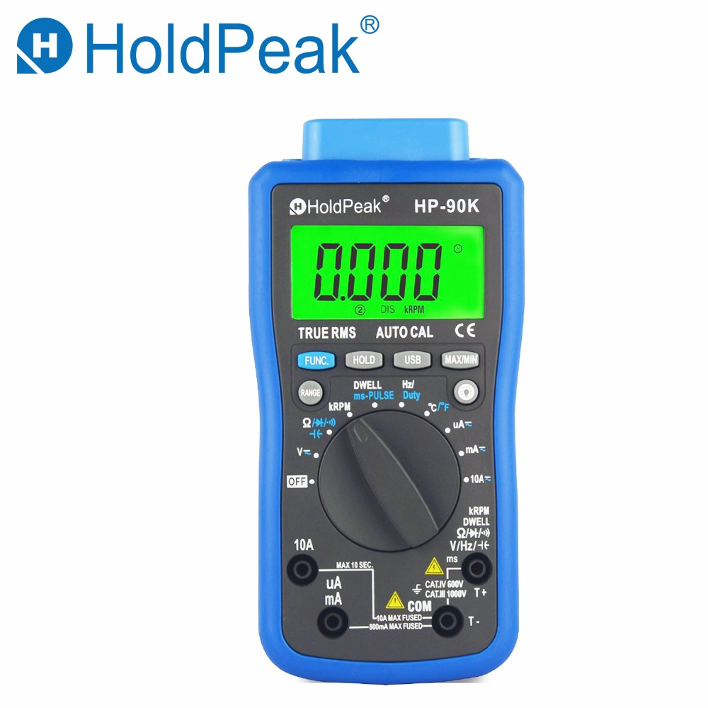 HoldPeak HP-90K Engine Analyzer Tester Auto Range Car Diagnostic Tool with Data Output by USB Automotive Multimeter Multimetro holdpeak hp 90epc multimetro digitais usb multimeter digital auto range multimeter capacitance meter data usb with carry bag