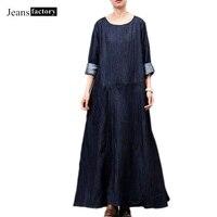 Summer dress women dress Patchwork Denim Maxi Dresses Short sleeve Ankle Length Blue Long Dresses Mori girl vestidos de fiesta