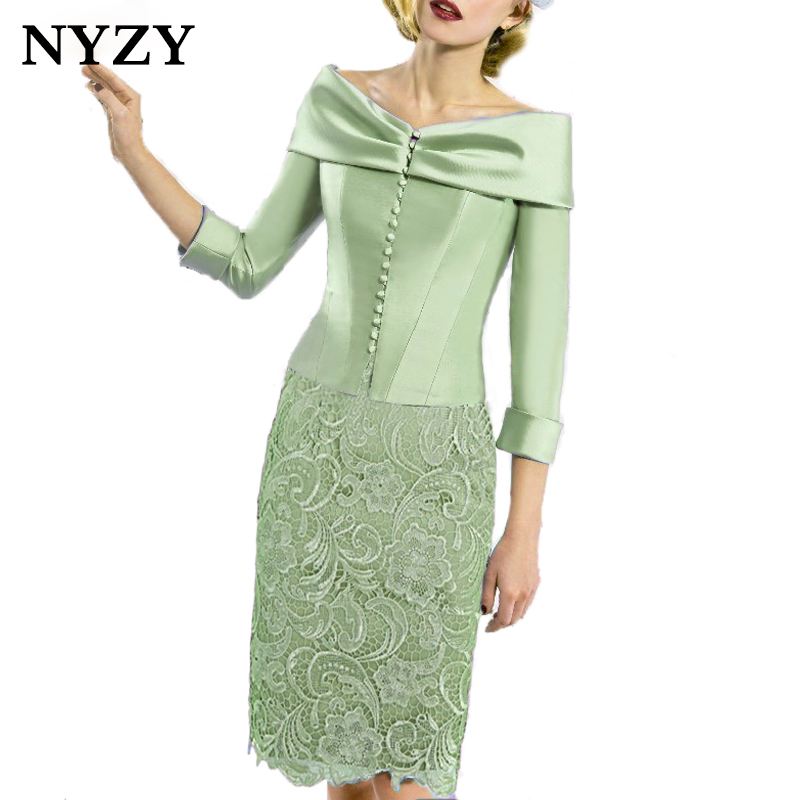 NYZY C168M With Boat Neck Satin Bolero 2 Piece Mint Green Lace Vestido Robe Cocktail Dresses For Wedding Party Guest Wear 2019