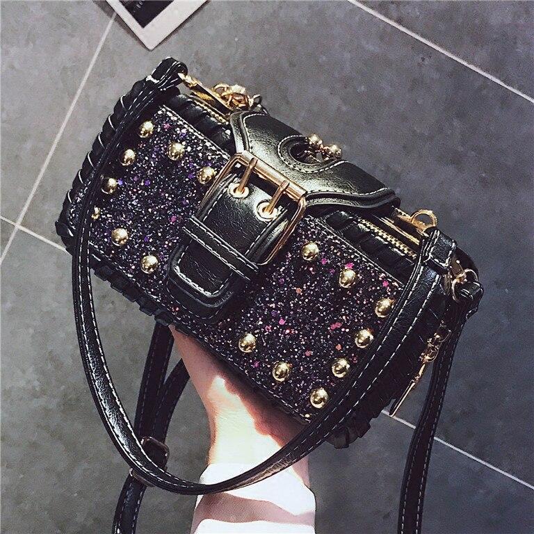Women Vintage Large Capacity Party Elegant Messenger Crossbody Bag Rivet High End Shoulder Bag Classic Handbag PU Leather Tote